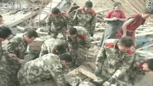 Footage from Chinese state television post-quake.