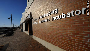 An energy-efficient building houses a new business incubator in Greensburg, shown in 2009.