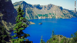 Crater Lake in Oregon has 2,000-foot cliffs that surround the lake.
