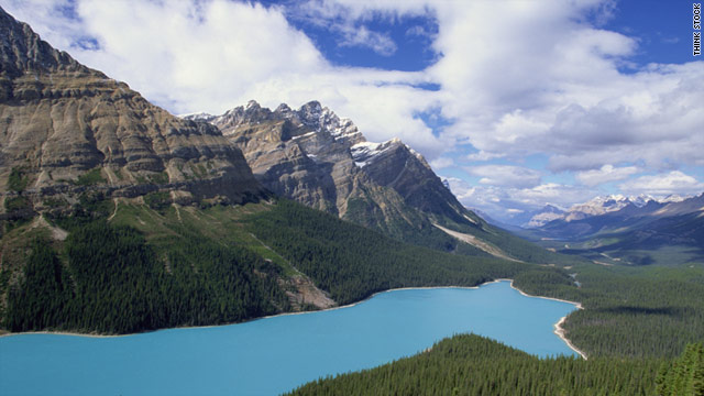 Peyto Lake, located in the Canadian Rockies, is 1.7 miles long.