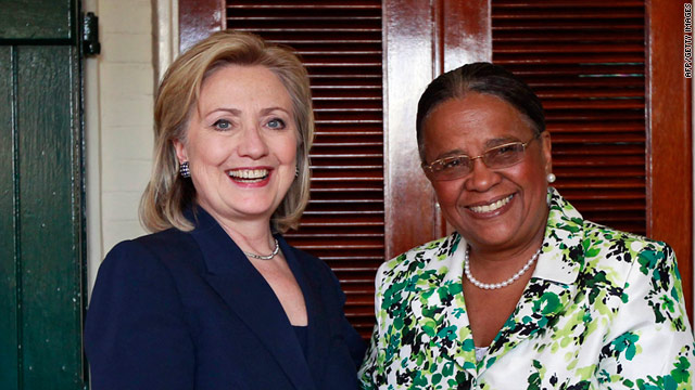 Hillary Clinton met with former first lady and leading Haitian presidential candidate Mirlande Manigat on Monday.