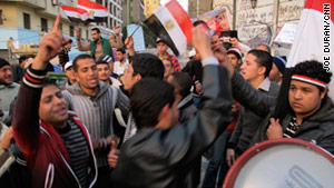 Protesters march in Egypt in the first days of demonstrations.