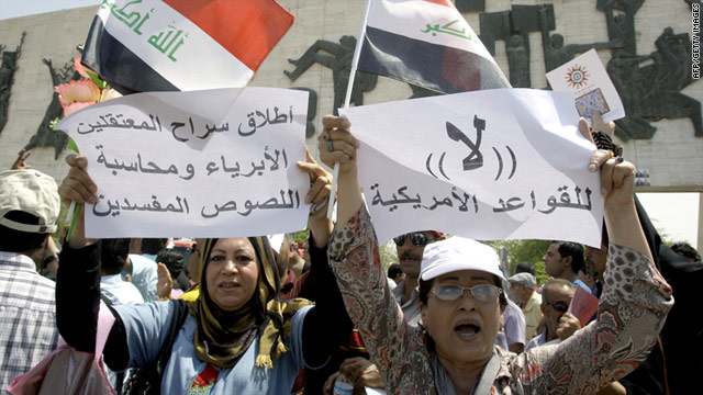 Iraqi protesters demonstrate in Baghdad's al-Tahrir Square on Friday. Demonstrations take place weekly across the country.
