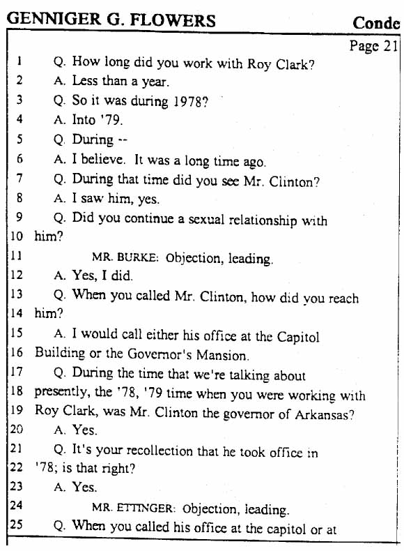 Legal Documents: The Gennifer Flowers Deposition - March 16, 1998