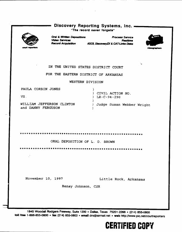 Legal Documents Excerpt From Deposition Of LD Brown March - Free legal docs