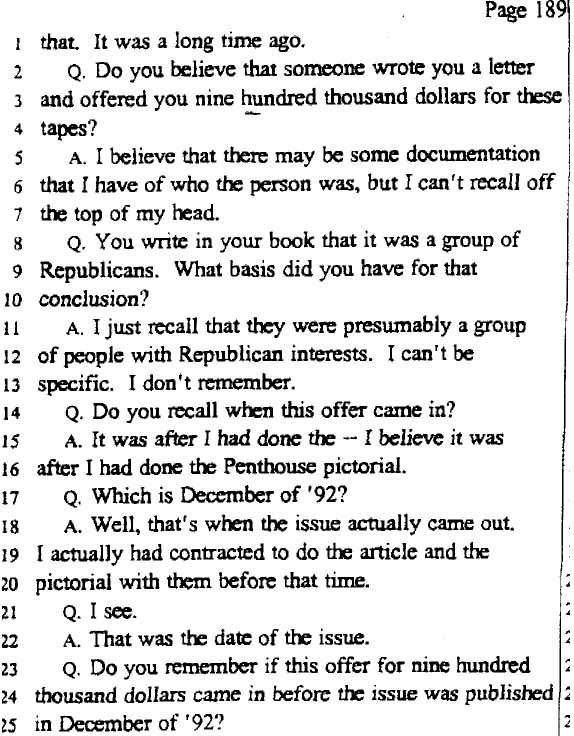legal documents excerpt from deposition of gennifer flowers march