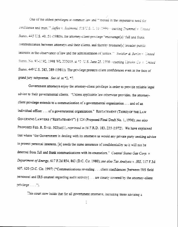 The Attorney Client Privilege Decision July 29 1998