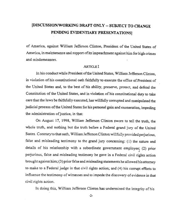 Text Of Draft Articles Of Impeachment