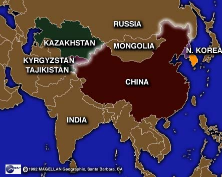 map of china and russia