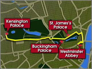 Cnn The Official Route For Princess Diana S Funeral September