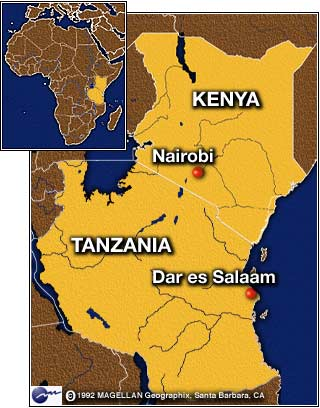 friends and family of more than 200 people killed in the twin bombings of u s embies in kenya and tanzania a year ago came together on two