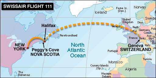 ... to NOva Scotia's rocky coast Friday to confront the chore of identifying remains retrieved from the ocean waters where Swissair Flight 111 crashed ...