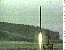中距離ミサイル テポドンの発射