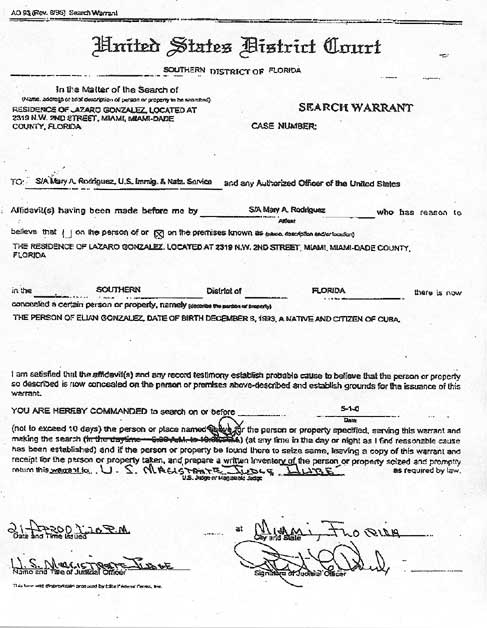 Search warrant allowing the Immigration and Naturalization Service to ...