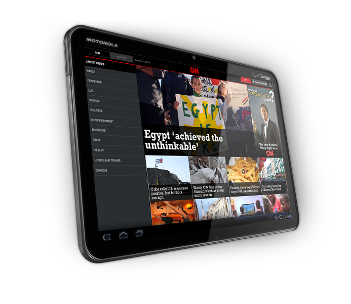 CNN App for Android on the Motorola XOOM Tablet