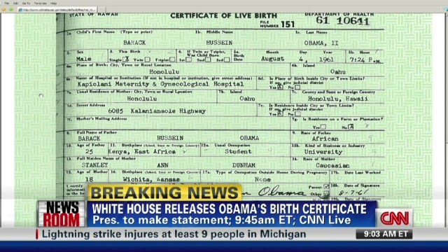 Obama releases original long-form birth certificate - CNN.com