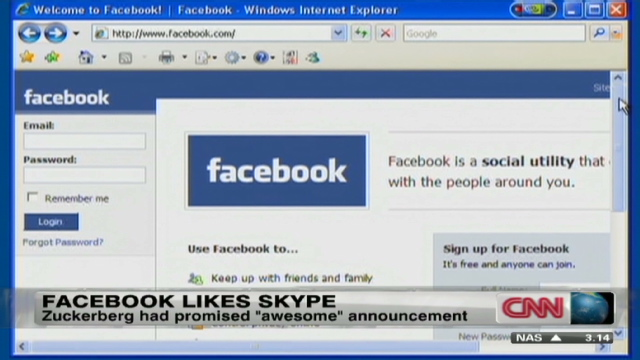 Facebook adds Skype video chat feature - CNN com