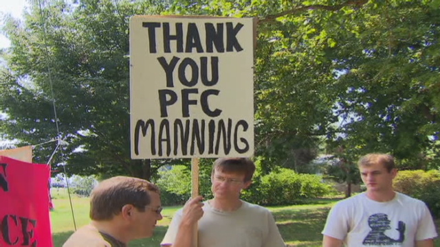 Activists rallied in Manning's support Sunday