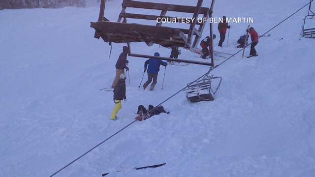 Scary Moments For Skiers Stuck On Lift