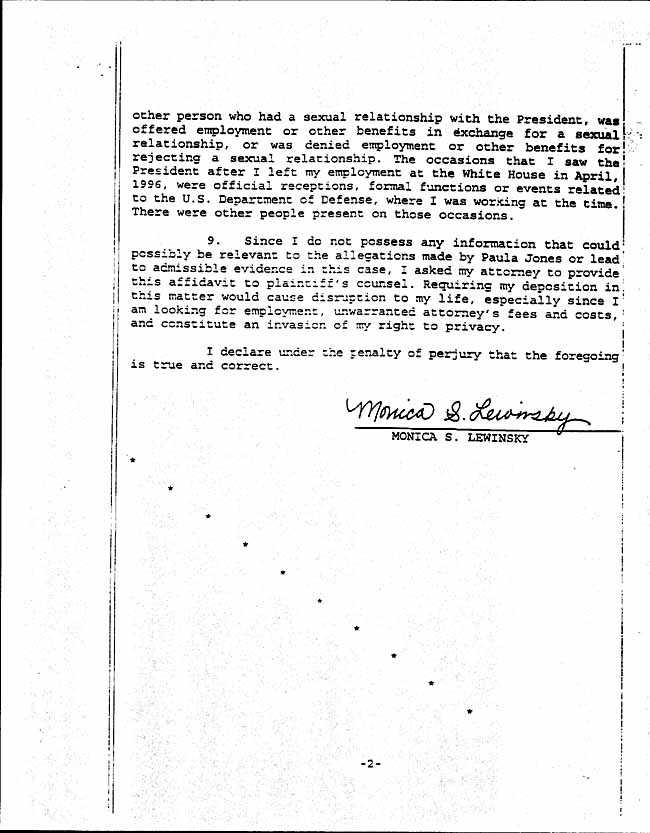 Legal Documents: The Monica Lewinsky Affidavit - March 16, 1998