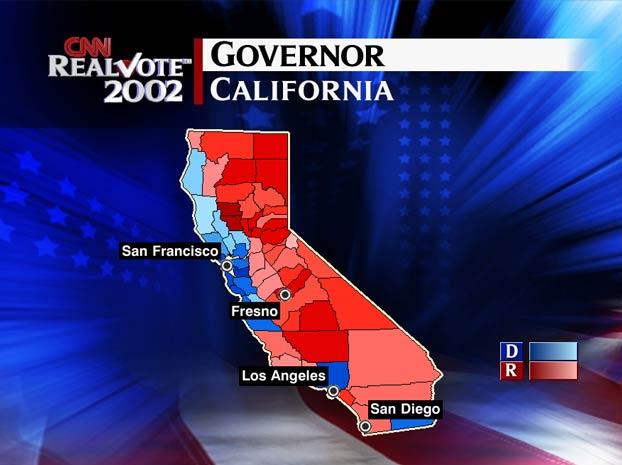 Map Of California Election Results.Cnn Com Election 2002 Spatialogic Map California Governor