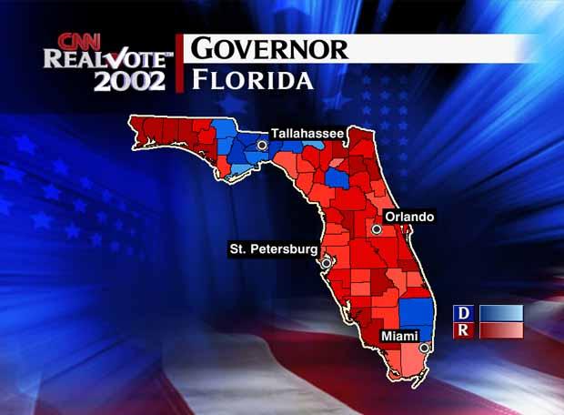 Map Of Florida Election Results.Cnn Com Election 2002 Spatialogic Map Florida Governor