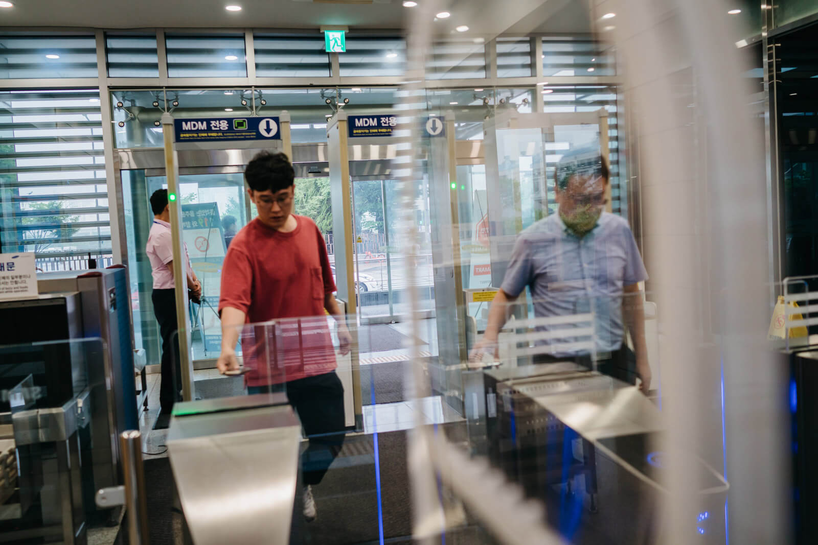 All employees and visitors are required to walk through metal detectors on their way in and out of Samsung's R&D facilities.