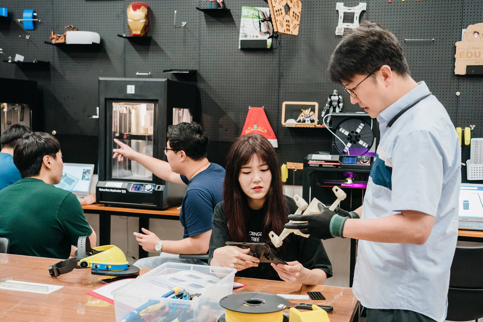 Samsung engineers exchange ideas and work on prototypes inside the C-Lab.
