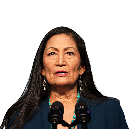 A photo of Deb Haaland from the shoulders up.