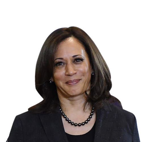 A photo of Kamala Harris from the shoulders up.